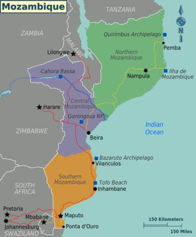 Mozambique Map Regions